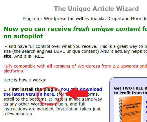Installing Unique Article Wizard WordPress plugin